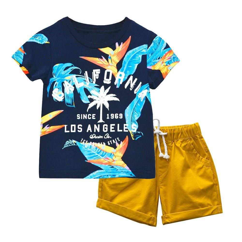 BINIDUCKLING Chemise à manches courtes California + Shorts 2 pièces Ensemble de vêtements d'été pour enfants