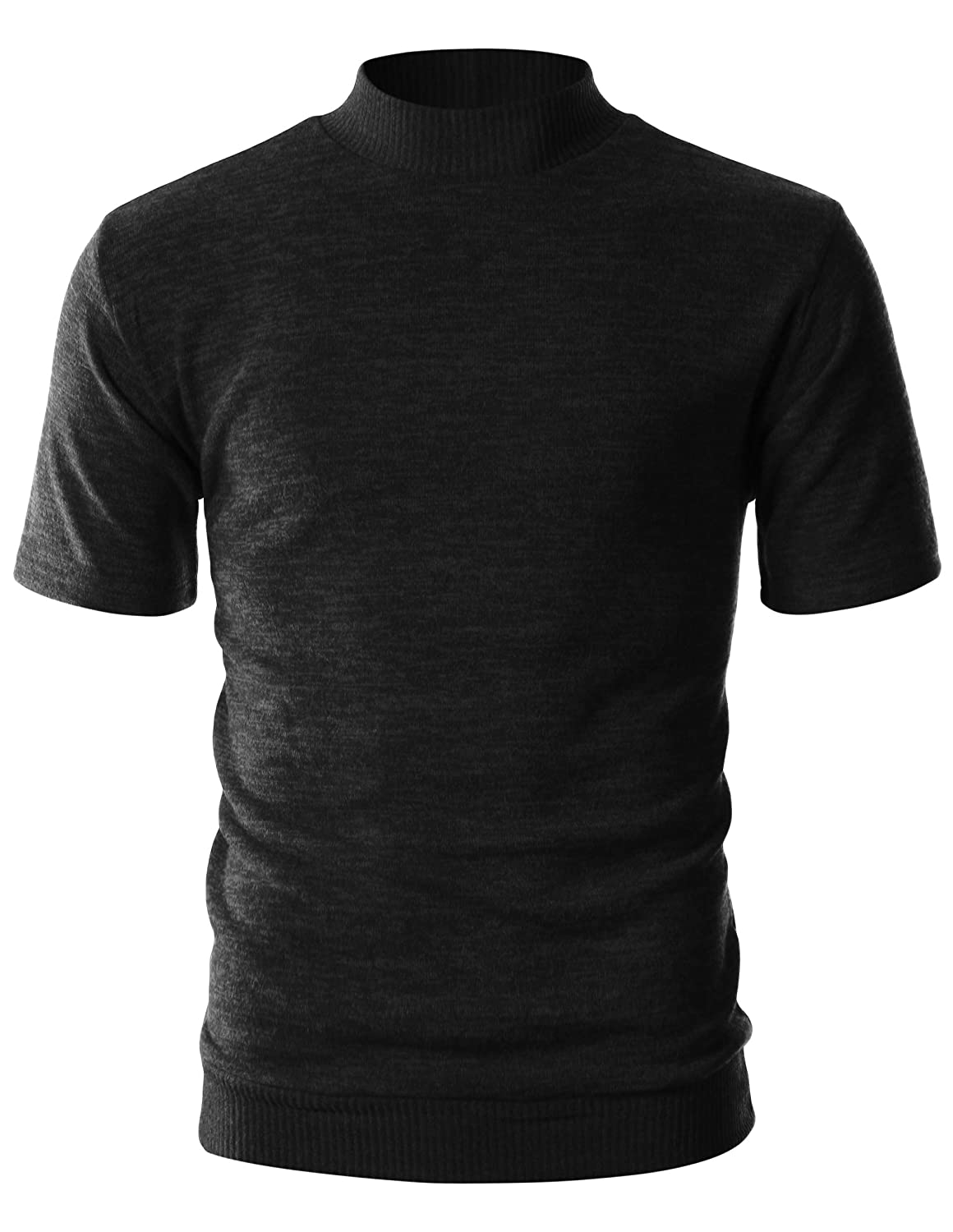 OHOO Mens Slim Fit Soft Cotton Short Sleeve Pullover Lightweight Mockneck with Warm Inside