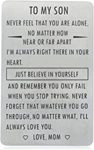 Gifts for Son from Mom, To My Son Engraved Wallet Card Inserts with Inspirational Quotes, Christmas, Birthday, Graduation, Gift Ideas