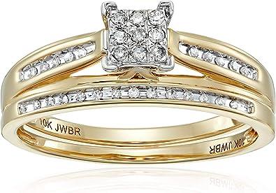 Amazon.com: Juego de anillos de bodas con diamante cuadrado ...