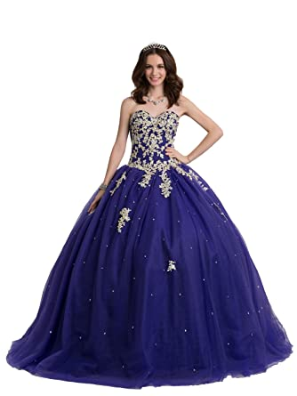 Bridess Women\u0027s Sweetheart Lace Appliques Tulle Ball Gown Quinceanera Dress