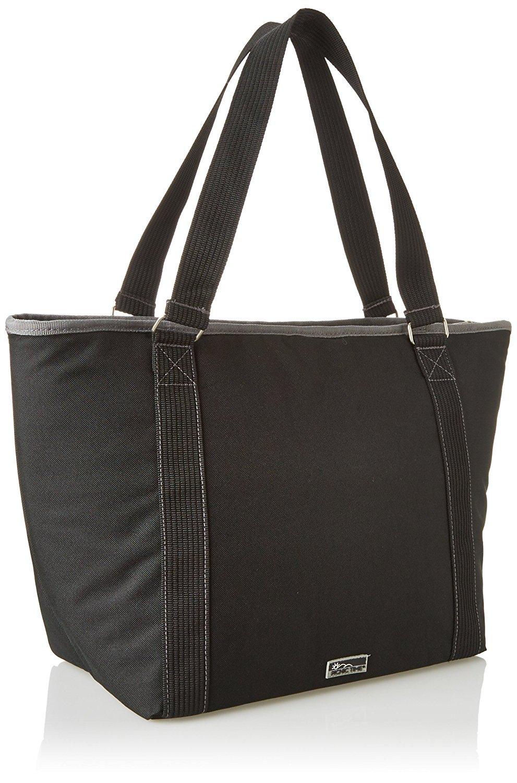 新しいLargeブラック断熱クーラートートバッグGrocery Shopping bag with iceパックコンボ B0738HM423