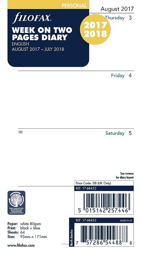Filofax 17-68452 – Recambio de hojas para agenda 17 de agosto – 18 de julio, calendario personal