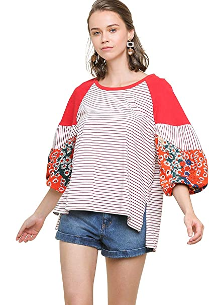 Umgee Womens Floral Long Puff Sleeve Colorblock Top Clothing, Shoes & Jewelry Clothing