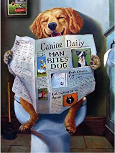 Painting Diamonds 'Dog is reading',DIY 5D Diamond Painting by Number Kit, Full Drill Diamond Rhinestone Embroidery Cross Stitch Kits Supply Arts Craft Canvas Wall Decor Stickers Home Decor 12x16 inche