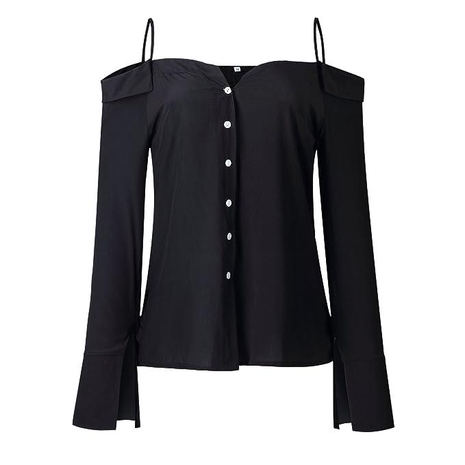 37c37d130e2b1 Ecowish Womens Shirts Sexy Spaghetti Strap Off Shoulder Long Sleeve Shirts  Casual Button Down Blouse Tops  Amazon.co.uk  Clothing