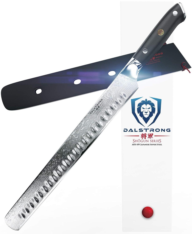 "DALSTRONG Slicing Carving Knife - 12"" Granton Edge - Shogun Series - AUS-10V- Vacuum Treated - Sheath"