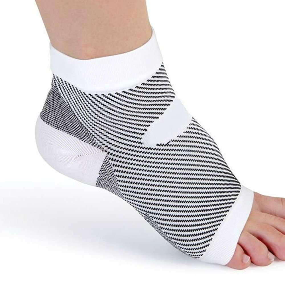 PU Health Pure Acoustics Compression Foot Sleeve Open Toe Pain Relief Increases Blood Circulation, White