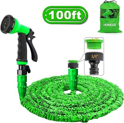 HOMOZE - Manguera de jardín de 100 pies para manguera de jardín con 8 funciones de riego, bolsa de almacenamiento, conectores para grifo: Amazon.es: Jardín