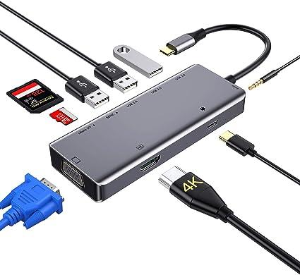 Oferta amazon: Hub USB C, concentrador tipo c 9 en 1 con 4K HDMI,VGA,USB 3.0, USB-C Power Delivery, 3,5mm Audio Jack,Lector de Tarjetas SD/TF, Samsung Dex Adaptador para MacBook Pro 2019 y más dispositivos (Grey)
