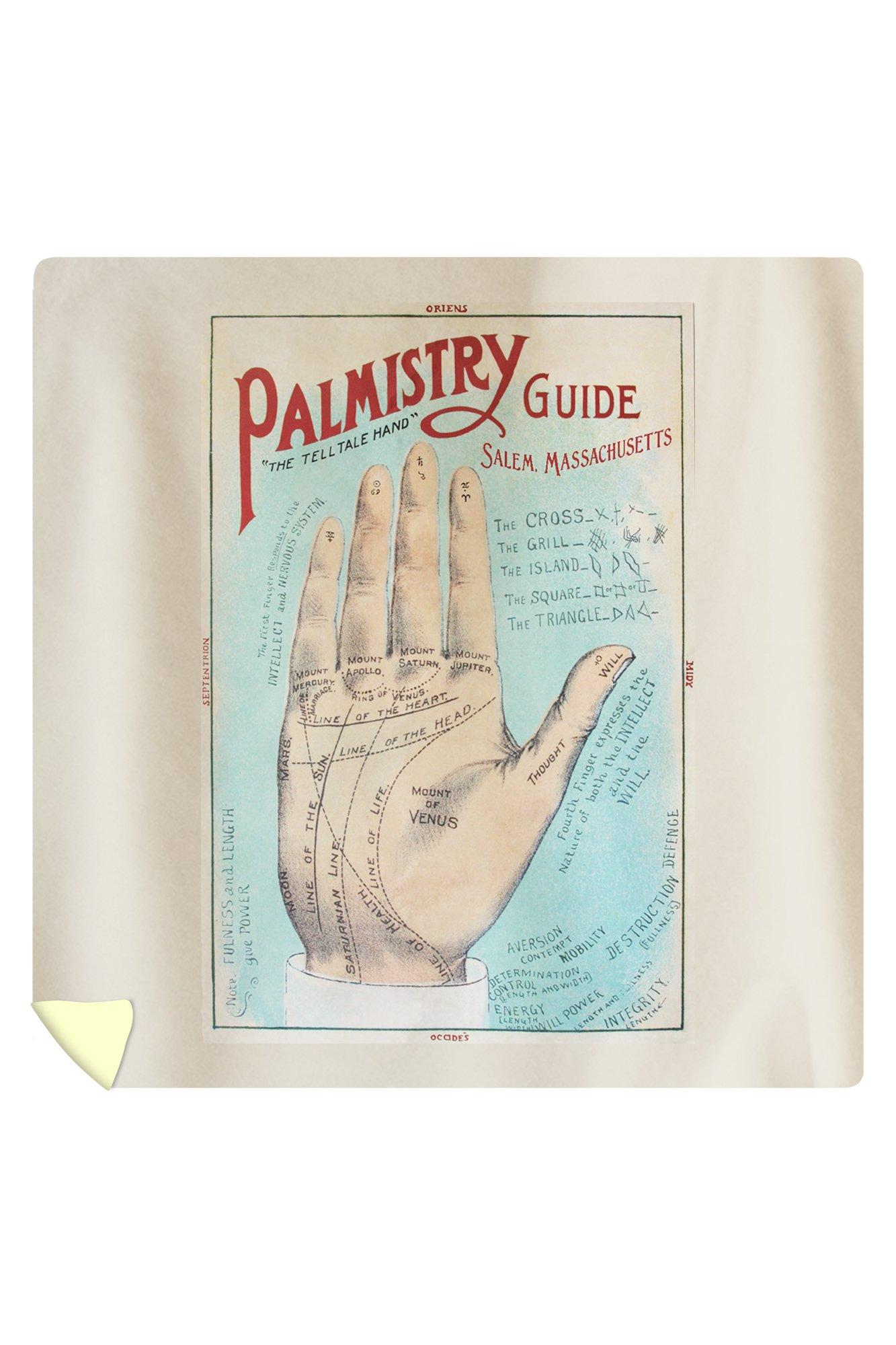 Salem, Massachusetts - A Picture of Good Health - Vintage Palmistry Chart Lithograph (88x88 Queen Microfiber Duvet Cover)