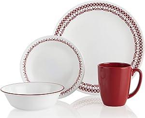 Corelle Cordoba Chip & Break Resistant 16pc Dinner Set, Service for 4, Vitrelle glass