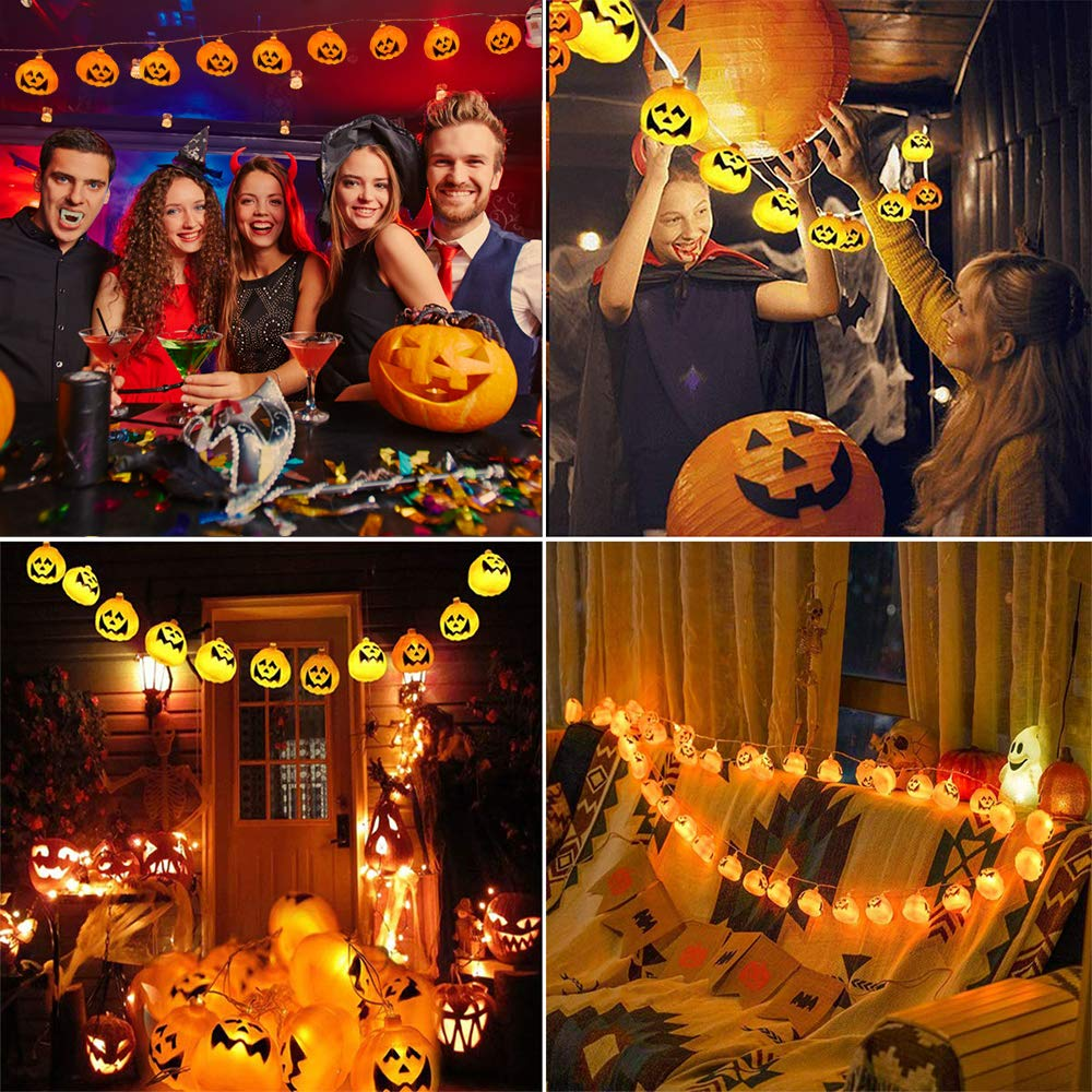 Halloween Pumpkin String Lights Energy Class A+ 2019 Newest 10ft LED String Lights with 20 WarmWhite Pumpkin LEDs Battery Operated for Halloween Festival Party Home Decoration