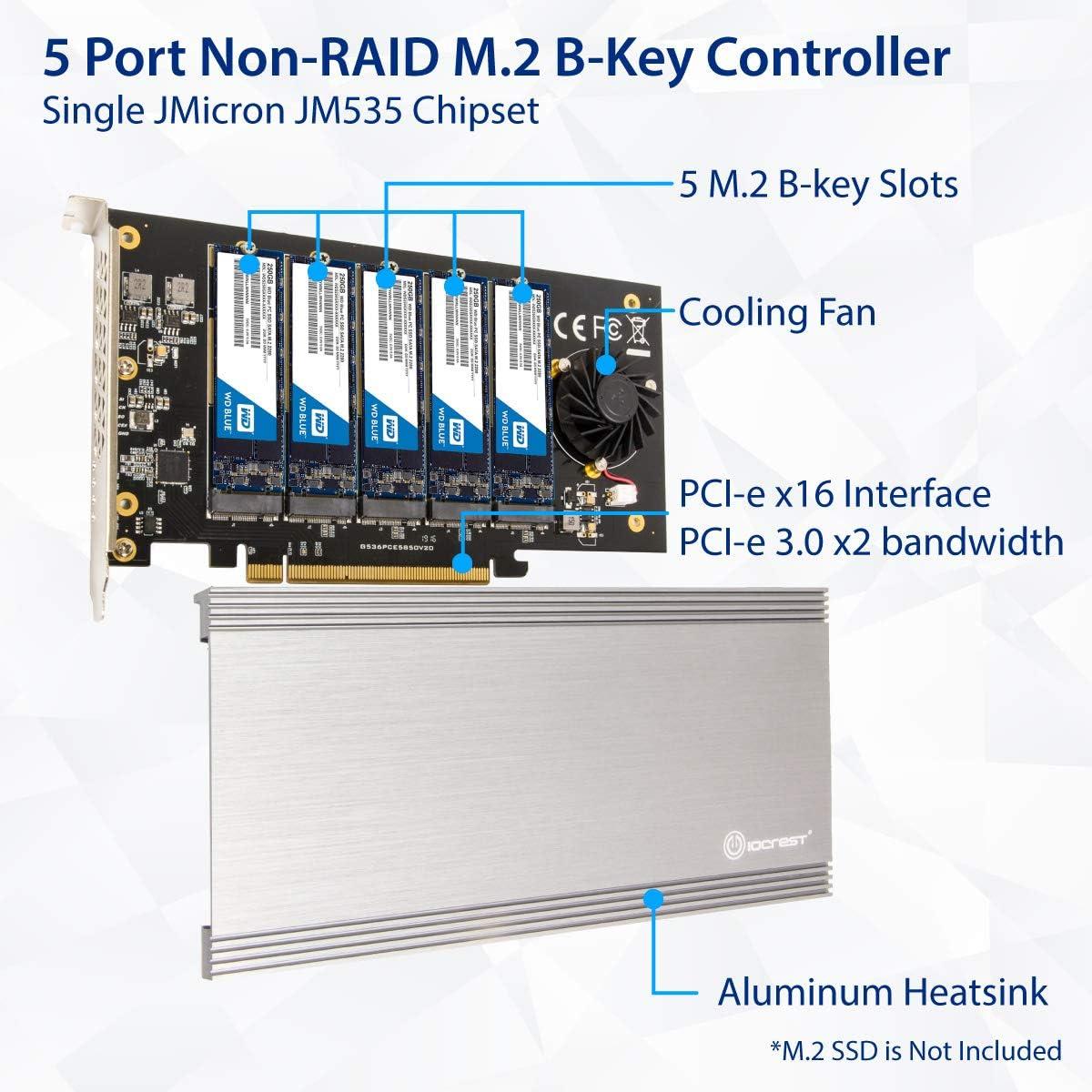 IO CREST 5 Slot M.2 B-Key SATA Base Pci-E 3.0 X2 Bandwidth Non-Raid Controller Card Require X16 Slot