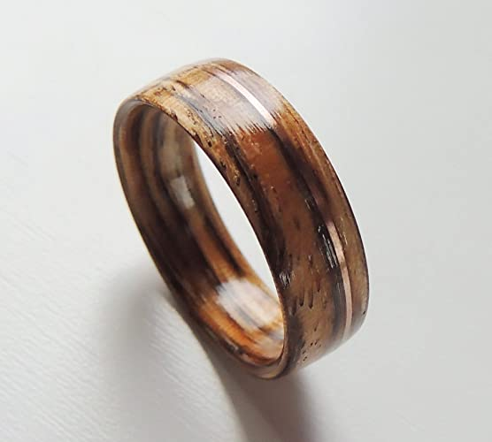 Amazon Com Bentwood Ring Zebrawood And Rose Gold Wood Wedding Band