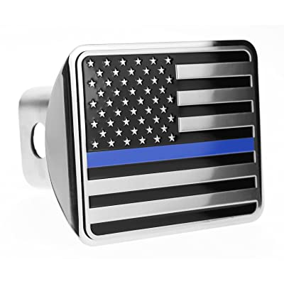 """USA US American Flag Stainless Steel Emblem on Metal Trailer Hitch Cover Fits 2"""" Receivers Black and Chrome With Thin Blue line: Automotive"""