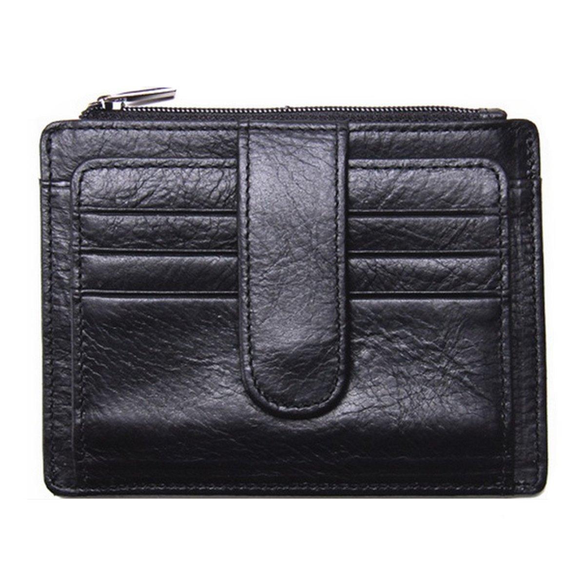Men's Genuine Leather Front Pocket Wallet Slim Card Holder Case Coin Purse