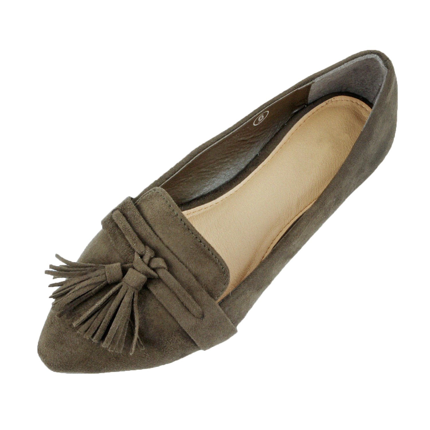 Guilty Heart - Womens Tassel Slip On Suede Comfort Loafer Oxford Casual Flats Flats, Olive Suede, 10 B(M) US by Guilty Heart