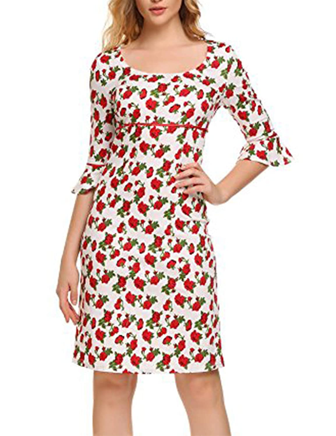 ACEVOG Women's Vintage Floral Flare Sleeve Cocktail Pencil Dress FASRET-ACEVOG AVH016035_PW_L*