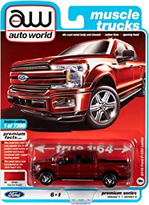 Auto World 2018 Ford F-150 Lariat Pickup Truck Ruby Red Metallic Muscle Trucks Limited Edition 1:64 Diecast Model Car