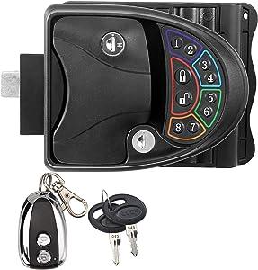 Rupse Zinc Alloy RV Keyless Entry Door Lock Latch Handle Knob Deadbolt for Trailer Caravan Camper with Keypad & Fob 20m Wireless Remote Control