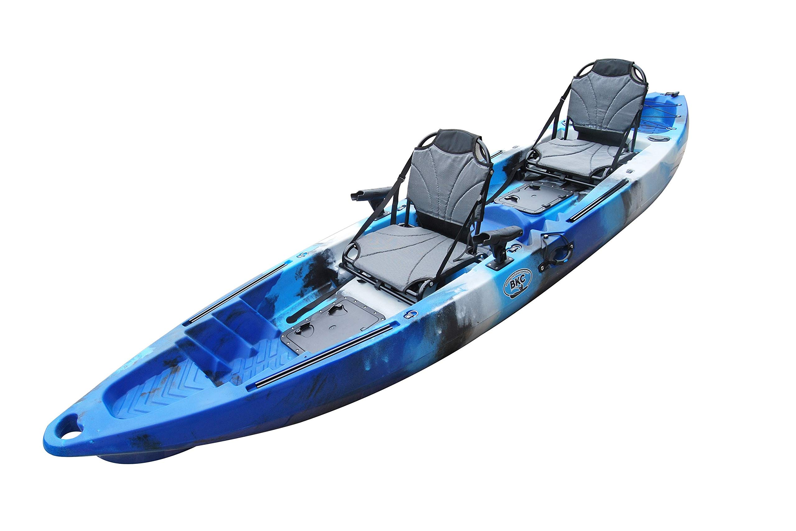 BKC TK122 12.9' Tandem Fishing Kayak W/Upright Aluminum Frame with Backrest Support Seats, Paddles, 4 Rod Holders Included 2-3 Person Angler Kayak by Brooklyn Kayak Company