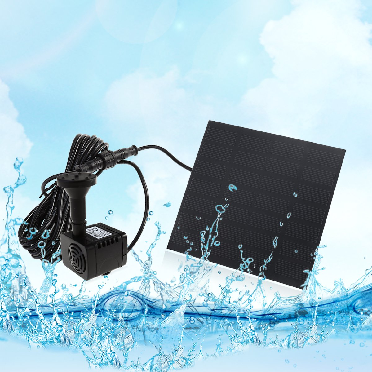 UEETEK 7V 1.2W 180L / H Bomba de agua de la energía solar de la bomba del acuario Fuente de la piscina del estanque Bomba sumergible: Amazon.es: Productos ...