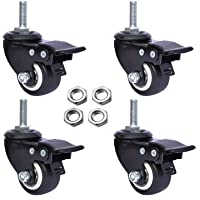 AAGUT 1.5″ Swivel Stem Casters Wheels with Brake Lock Screwed Bolt 3/8