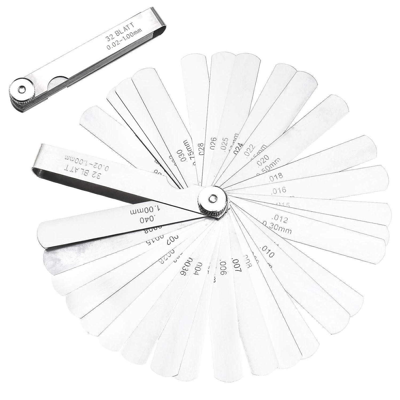 METRIC 17 Blade FEELER GAUGE 0.02mm-1.00mm Guage Measure Tool Ruler 100mm