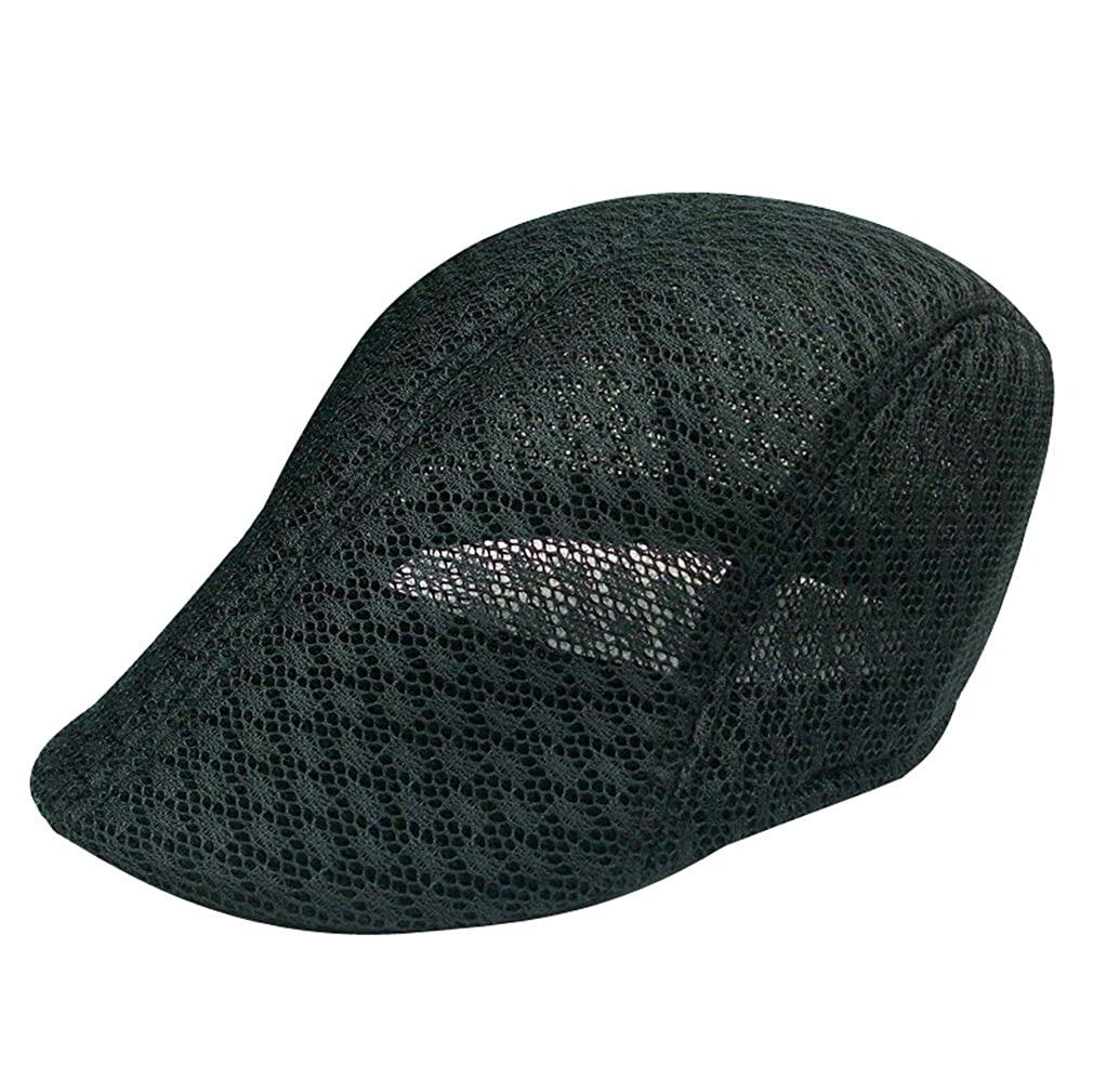 YueLian Men Womens Mesh Ivy Hat Newsboy Cabbie Duckbill Cap