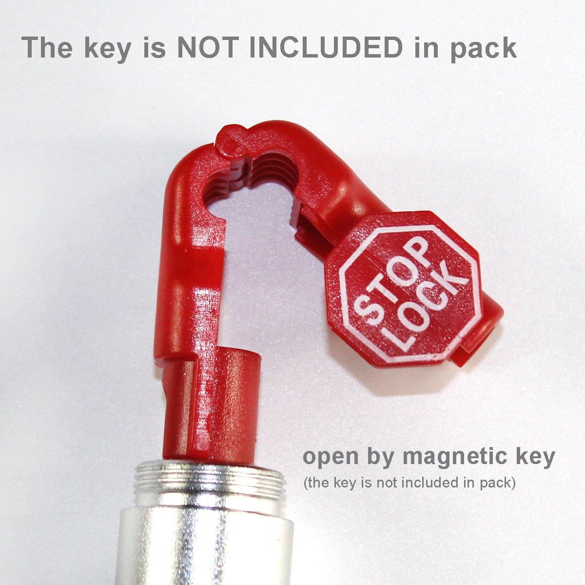 Betertek Peg Hook Locks Stop Lock 100pcs Plastic red Stop Locks Anti Theft Lock Retail peg Hook Security Locks pegboard peg Locks Retail Security Display Hook Lock by BETERTEK (Image #5)