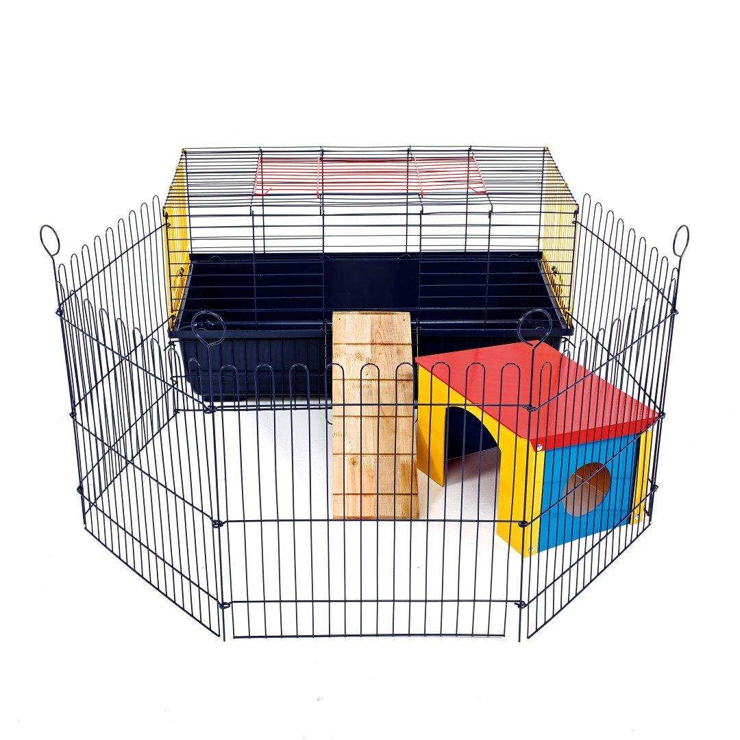 Ideal para Conejos y cobayas Little Friends Poco Amigos Interior 80/de Conejo Jaula con Run