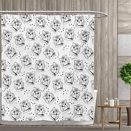 Smallfly Black And White Custom Made Shower Curtain Cute Dog Pattern With Buckle Collar Monochrome