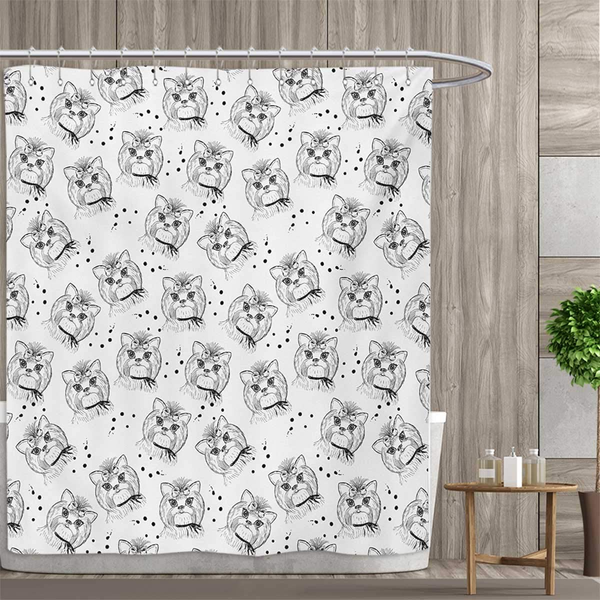 color07 69 x 70 (inch) color07 69 x 70 (inch) smallfly Black and White Satin Fabric Bathroom Washable Cute Dog Pattern with Buckle and Collar Monochrome House Pet Illustration Shower Curtains Digital Printing 69 x70  Black White