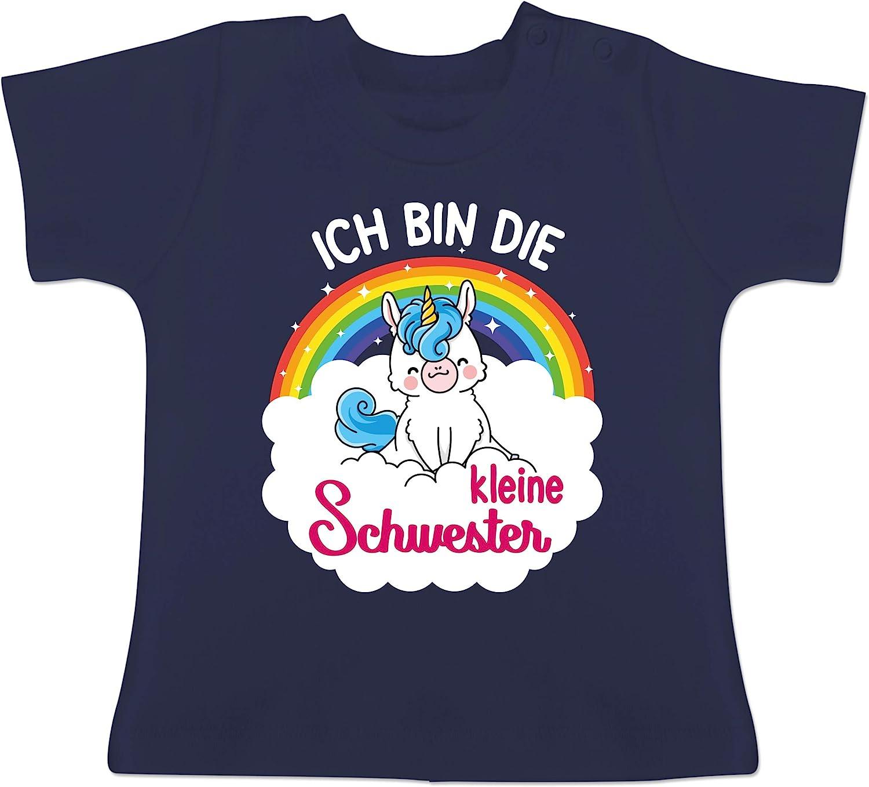 Baby T-Shirt Kurzarm mit Einhorn Ich Bin die kleine Schwester Shirtracer Geschwisterliebe Baby