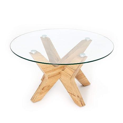 Amazon.com: Ivinta - Mesa de centro redonda de cristal con ...