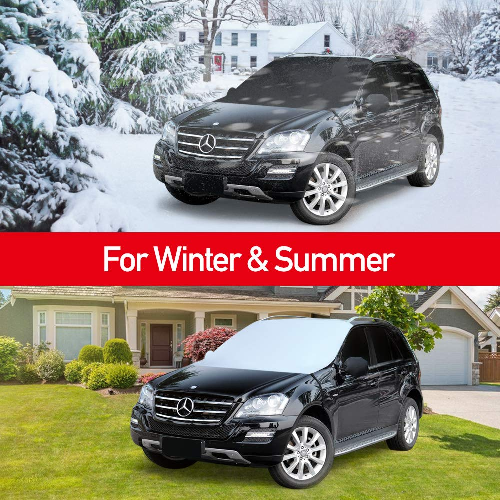 QUEES Windshield Snow Cover Updated Extra Large for Car Truck SUV Van Double Fixed Design Windproof Outdoor Car Protector Keeps Ice Snow Off All Weather Winter Summer