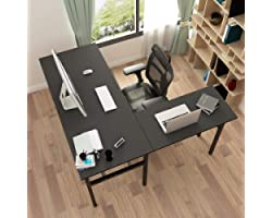 Need L-Shaped Desk Computer Desk with Mainframe Multifunctional Computer Table Workstation, Black AC11CB-CA