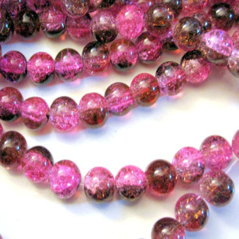 k2-accessories 100 pieces 8mm Crackle Glass Beads - Fuchsia Pink & Brown - A1837-A