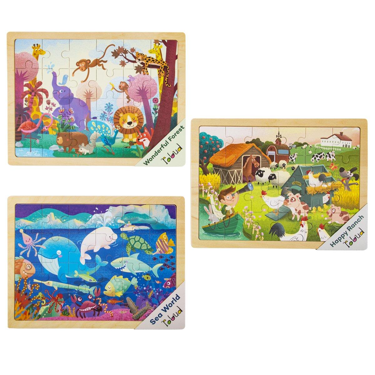 おすすめネット ROBOTIME 木製ジグソーパズルセット 収納トレイ付き 幼稚園のおもちゃ - 3セット 赤ちゃんパズルゲーム - ROBOTIME 幼稚園のおもちゃ 収納トレイ付き 1歳から2歳 3歳 (森、牧場、海の世界) B07FS6MGHX, 琉球泡盛 久米仙酒造:f0f837e0 --- 4x4.lt