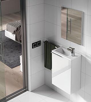PEGANE Set de Mueble bajo Lavabo Resina con 1 Puerta Blanco Lacado + Lavabo + Espejo: Amazon.es: Hogar