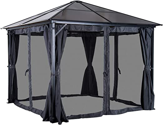 Outsunny – Carpa jardín Carpa (con Laterales PC Techo Aluminio 300 ...