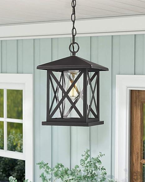 Amazon Com Jazava Exterior Pendant Light Outdoor Hanging Lantern 14 5 Outdoor Pendant Lighting For Porch Entrance 1 Light Adjustable Lights Matte Black Finish With Clear Glass Home Improvement