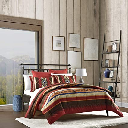 N2 3 Piece Red Brown Yellow Blue Southwest Themed Comforter Full Queen Set,  Native American