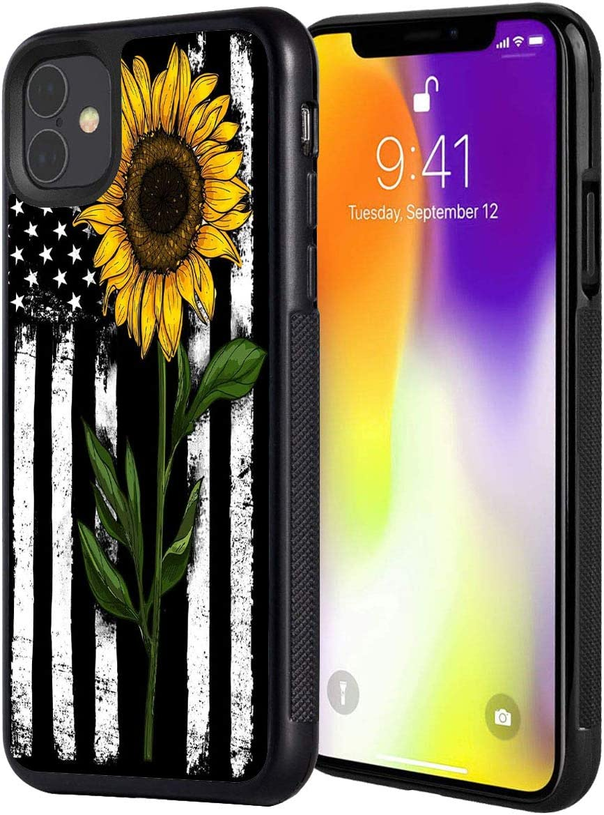 "iPhone 11 Pro Case,Sunflower on American Flag Pattern Anti-Scratch Shock Proof Black TPU and PC Protection Case Cover for iPhone 11 Pro 5.8"" 2019"