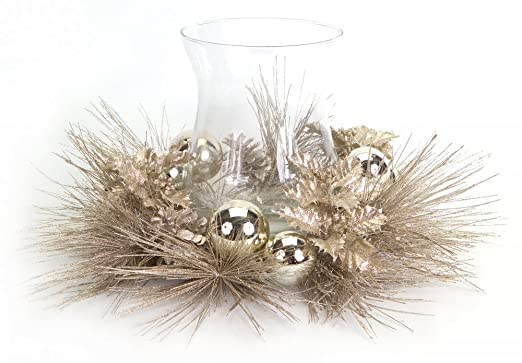Christmas Tablescape Decor - Gorgeous champagne pine, holly & pine cone candle ring