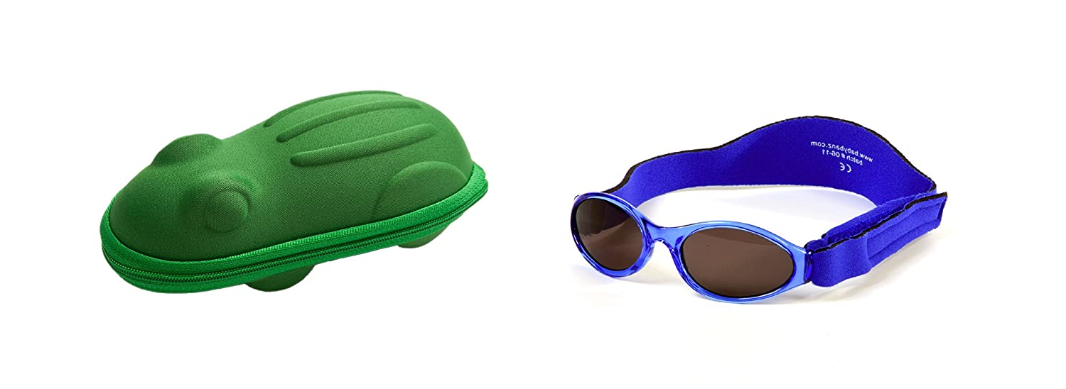 Gift Pack Baby Navy Blue BabyBanz Sunglasses and Green Frog Sunglasses Case 0-2 Years Yoccoes Design combo/01A/B-0202/frog