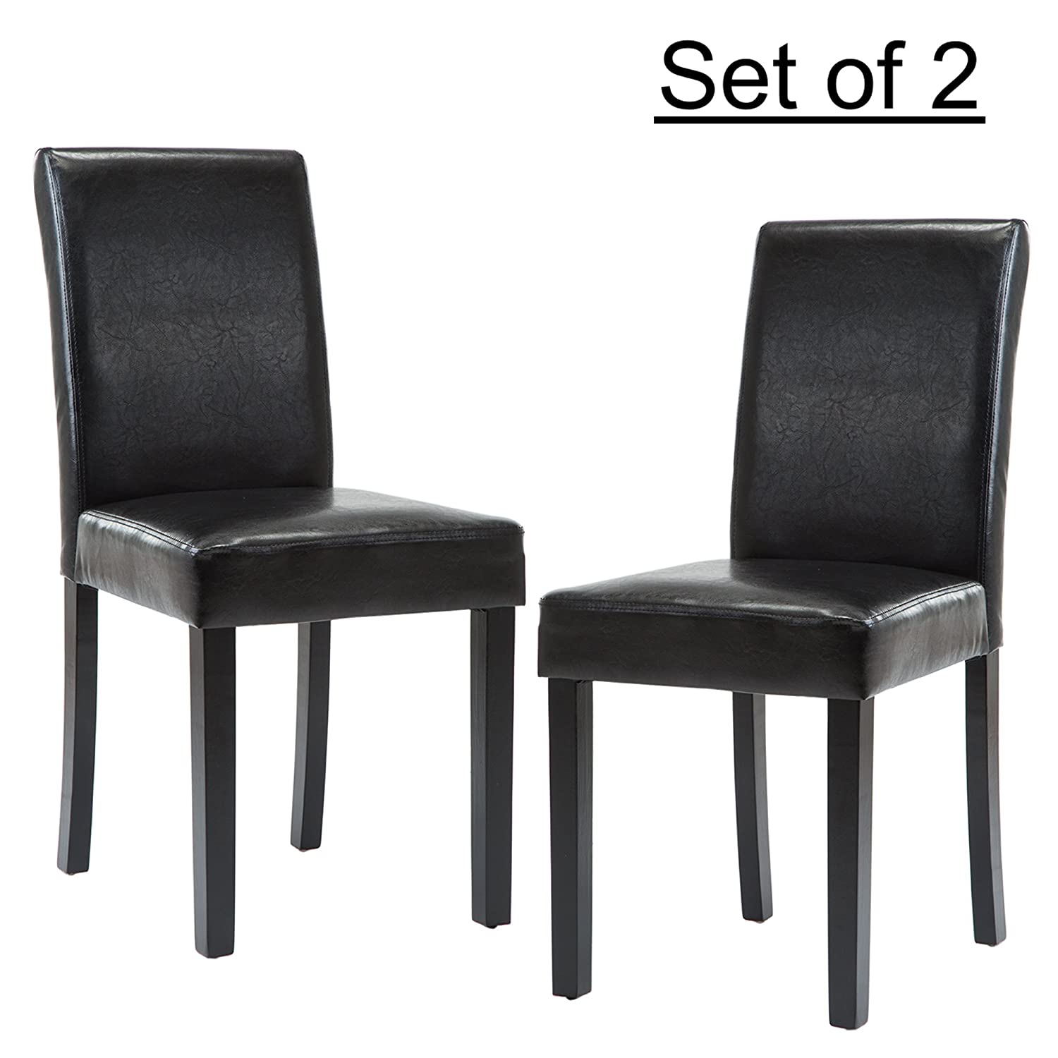 LSSBOUGHT Set of 2 Urban Style Leatherette Dining Chairs Black Dining Room with Solid Wood Legs,Set of 2 Black