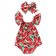 Newborn Baby Girls Watermelons Printed Ruffle Bodysuit with Headband (0-6M, Watermelon)