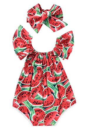 e5295bb6d36f Amazon.com  Aalizzwell Newborn Baby Girls Watermelons Printed Ruffle  Bodysuit with Headband  Baby
